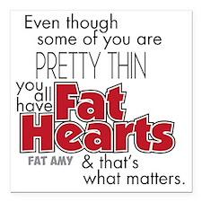 "Fat Hearts Square Car Magnet 3"" x 3"""