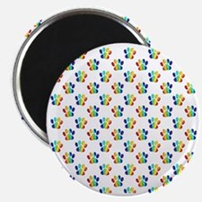 Rainbow Paw Prints on White Magnet