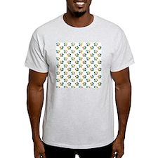 Rainbow Paw Prints on White T-Shirt