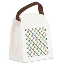 Rainbow Paw Prints on White Canvas Lunch Bag