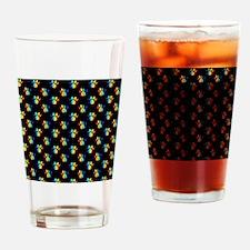 Rainbow Pawprints on Black Drinking Glass