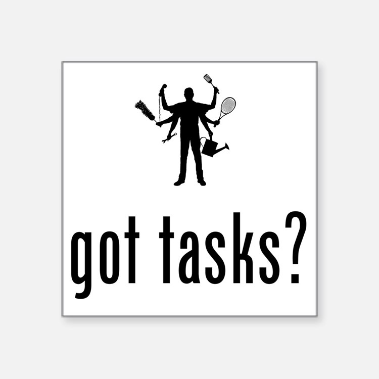 "Multitasking-02-A Square Sticker 3"" x 3"""