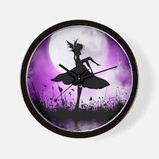 Enchanted-Silhouette-Fairy-Purple Wall Clock