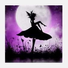 Enchanted-Silhouette-Fairy-Purple Tile Coaster