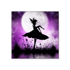 "Enchanted-Silhouette-Fairy- Square Sticker 3"" x 3"""