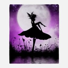 Enchanted-Silhouette-Fairy-Purple Throw Blanket