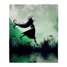 Enchanted-Silhouette-Princess-Green Throw Blanket