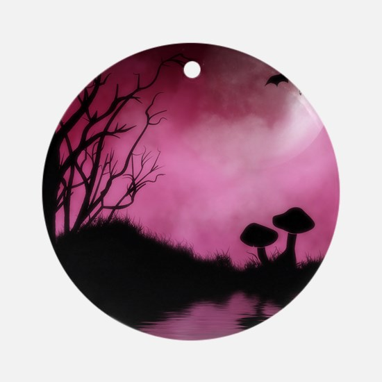 Enchanted-Silhouette-dragon-Red Round Ornament