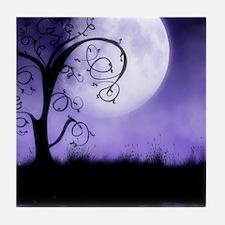 Enchanted-Silhouette-Tree-Purple Tile Coaster