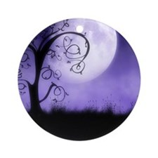 Enchanted-Silhouette-Tree-Purple Round Ornament