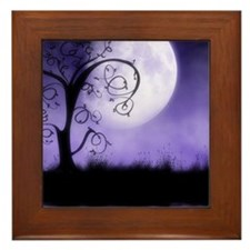 Enchanted-Silhouette-Tree-Purple Framed Tile
