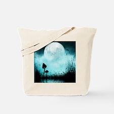 Enchanted-Silhouette-Mushroom-Teal Tote Bag