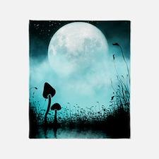 Enchanted-Silhouette-Mushroom-Teal Throw Blanket