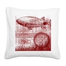 Steampunk Airship Square Canvas Pillow