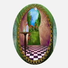 Through The Key Hole Oval Ornament