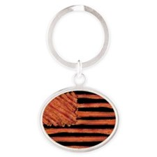 United States of Bacon Flag Oval Keychain
