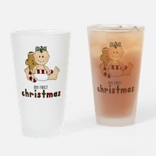 My First Christmas (Girl 1) Drinking Glass