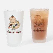 First Christmas (Boy Design 2) Drinking Glass