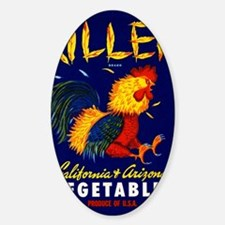 1940 Fighting Rooster Vegetable Cra Sticker (Oval)