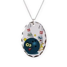 Bowling Ball and Pins Necklace Oval Charm