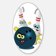 Bowling Ball and Pins Sticker (Oval)