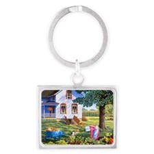 Country living and life is good Landscape Keychain