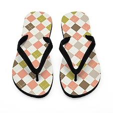 Retro Pink Brown and Green Geometric Flip Flops