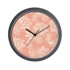 Shabby Chic Soft Floral Damask Wall Clock