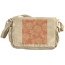 Shabby Chic Soft Floral Damask Messenger Bag