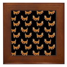Cute Dachshunds Pups Framed Tile