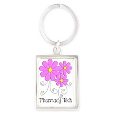 pharmacy tech FLOWER PINK Portrait Keychain