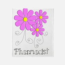 Pharmacist Blue Pink Flower Throw Blanket