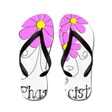 Pharmacist Blue Pink Flower Flip Flops