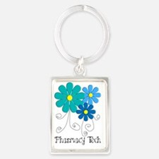 pharmacy tech flower blue Portrait Keychain