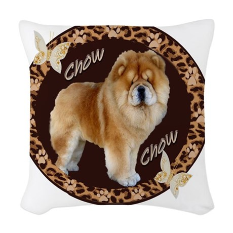 chow chow pawprints Woven Throw Pillow