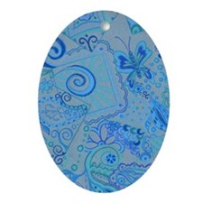 Shades of Blue Oval Ornament
