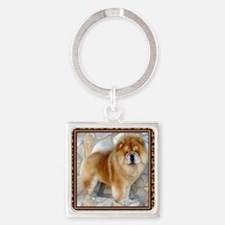 Chow Chow Pawprints Square Keychain