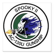 """AC-130U Spooky II Gunshi Square Car Magnet 3"""" x 3"""""""