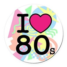 I Heart 80's Round Car Magnet