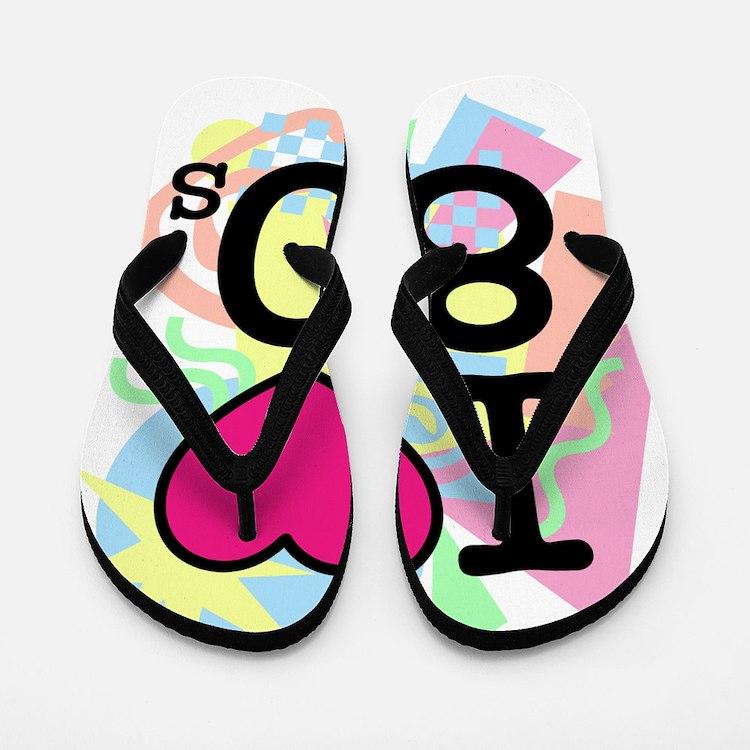 I Heart 80's Flip Flops