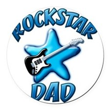 Rockstar Dad Round Car Magnet