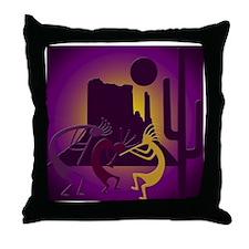 Kokopellis in the Southwest Purple Throw Pillow