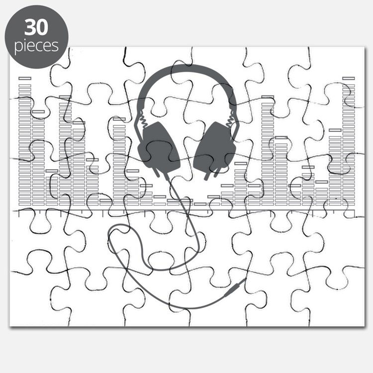 Headphones with Audio Bar Graph in Grey Puzzle