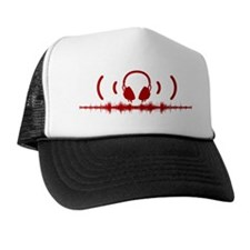 Headphones with Soundwaves and Audio i Trucker Hat