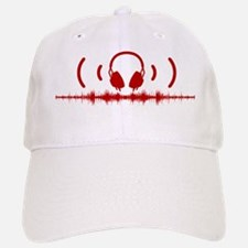 Headphones with Soundwaves and Audio in Red Baseball Baseball Cap