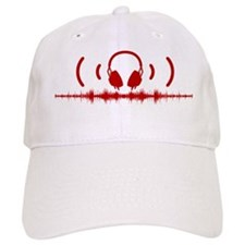Headphones with Soundwaves and Audio in Red Baseball Cap