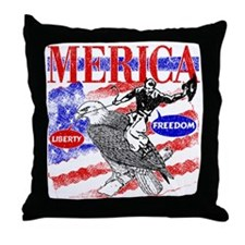 Merica Eagle and Cowboy Throw Pillow