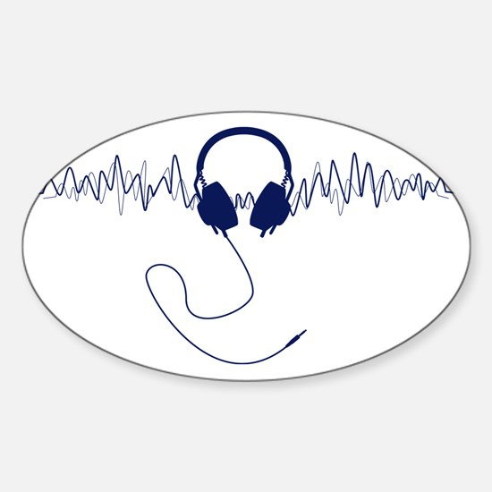 Headphones with Soundwaves Visual i Sticker (Oval)