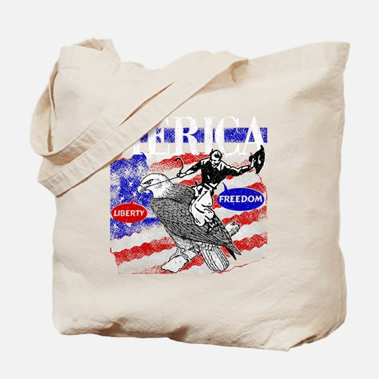 Merica Eagle and Cowboy Tote Bag