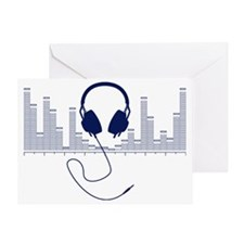 Headphones with Audio Bar Graph in N Greeting Card